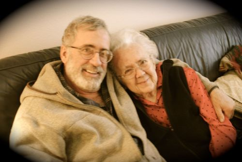 Favorite picture  of Bruce and his 100 year old mother taken on Christmas Day 2012.