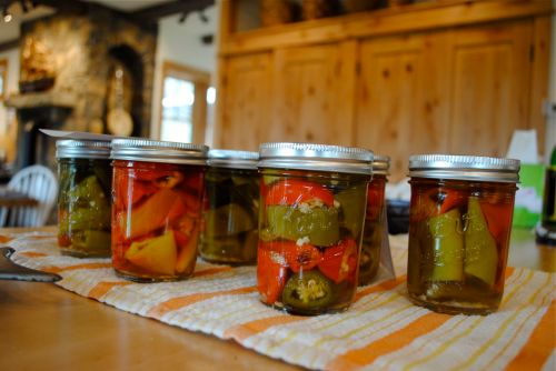 Picturesque pickled peppers sitting on the counter at Mule Springs Farm.