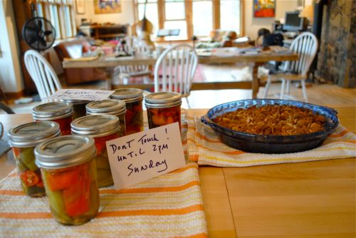 Guests are coming, and although they will get to touch the pie pan and eat the Comice pear crisp, they must stay away from the pickled peppers, because the jars have not sealed yet.  Hence the imperative --Do not touch until after 2:00 p.m. on Sunday.