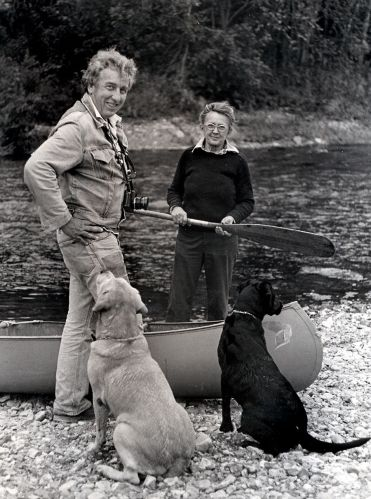 Mm and Dad with dogs and canoe copy