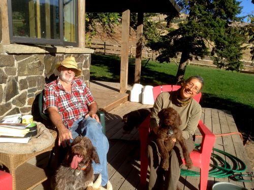 Bruce and my best friend from childhood, Merri Carol, enjoy a quiet moment on the deck showing off how much Gypsy has grown.