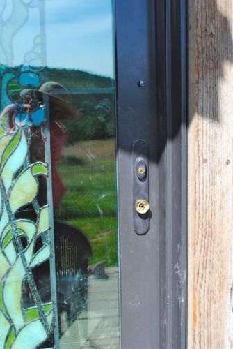 The glass door knob lasted two days before she removed the knob. She could not get into the house but neither could we.